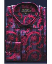 Fancy Shiny Paisley High Collar Pink Color Mens Dress Shirt