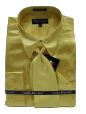 Fashion Cheap Priced Sale Mens New Gold Satin Dress Shirt Combinations SetTie