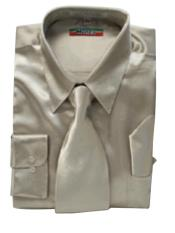 Cheap Priced Sale Mens New Mezzo Khaki Satin Dress Shirt Combinations Set Tie Combo Shirts Mens Dress