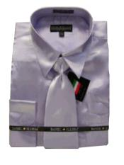 Fashion Cheap Priced Sale Mens New Lavender Satin Dress Shirt Combinations Set