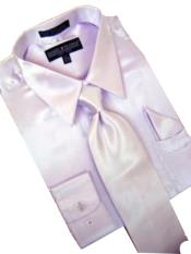 Fashion Cheap Priced Sale Satin Lavender Dress Shirt Combinations Set Tie Hanky