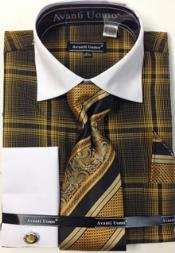 Avanti Uomo Cotton/Polyster Dress Shirt Set With Tie Hanky and Cuff Links
