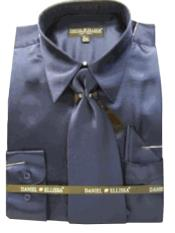 Cheap Priced Sale Mens New Navy Satin Dress Shirt Combinations Set