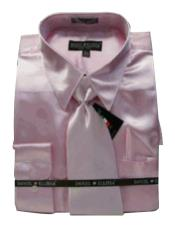 Cheap Priced Sale Mens New Pink Satin Dress Shirt Combinations Set Tie Combo Shirts Mens Dress Shirt
