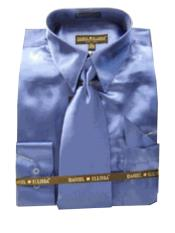 Fashion Cheap Priced Sale Mens New Royal Satin Dress Shirt Combinations Set