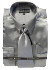Cheap Priced Sale Mens New Silver Satin Dress Shirt Combinations Set Tie Combo Shirts Mens Dress Shirt