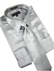Cheap Priced Sale Satin Silver Grey Dress Shirt Combinations Tie Hanky Set Mens Dress Shirt