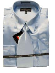 Cheap Priced Sale Mens New Light Blue ~ Sky Blue Satin Dress Shirt Combinations Set Mens Dress