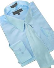 Cheap Priced Sale Satin Light Blue ~ Sky Blue Dress Shirt Combinations Set Tie Hanky Mens Dress