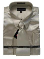 Cheap Priced Sale Mens New Tan ~ Beige Satin Dress Shirt Tie Combinations Set Mens Dress Shirt