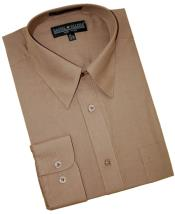 Taupe Cotton Blend Convertible Cuffs Mens Dress Shirt