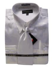 Cheap Priced Sale Mens New White Satin Dress Shirt Tie Combinations Set Mens Dress Shirt