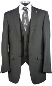 Mens Falcone side vents Big Size Fashion Dress Suit Burt Vested Black