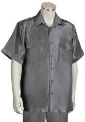 Metallic Shoulder Accent Dual Pocket Grey Suit