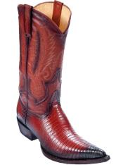 Faded Cognac Los Altos Genuine Teju Lizard Boots With Cowboy Heel
