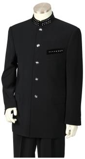 Button Military Style Mandarin / Nehru Tuxedo Suit with Sparkling Accents Black