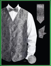 4 Piece Groomsmen Dress Tuxedo Wedding Vest   Set (Bow