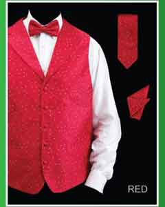4 Piece Groomsmen Dress Tuxedo Wedding Vest  Set (Bow Tie Neck Tie Hanky) - Lapelled Groomsmen