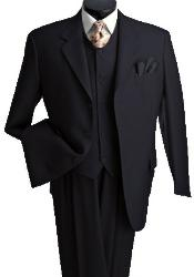 3 Piece Premium Fine Black three piece suit