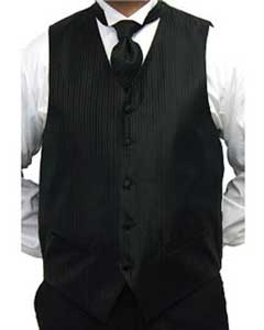Mens Black Four-piece Dress Tuxedo Wedding Vest ~ Waistcoat ~ Waist coat
