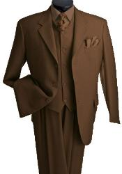 3 Piece Vested 3 Buttons Brown Three Piece Suit Side Vent Pleated Pants