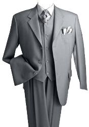 3 Piece 2 Or 3 Buttons Light Gray~Grey Three Piece Suit