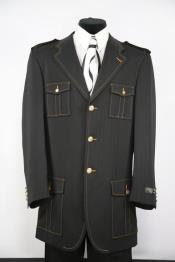 Naval Style Zoot Black Notch Lapel Flap Pocket
