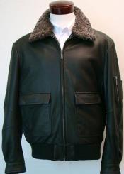 Classic Aviation Jacket With Sherpa-Lined Collar & Flap Pockets Black