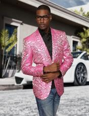 Nardoni Brand Fashion Mens shiny sequin Fuchsia ~ black lapel blazer