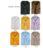 Stylish Formal Classic Solid Dress Shirt w/ Tie And Handkerchief Set Multi-color