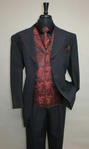 Mens Three Piece Suit - Vested Suit Mens Black/Red Jacket With Bold