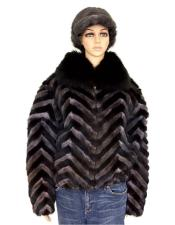 Black/Grey Chevron Mink Jacket With Fox Collar Jacket