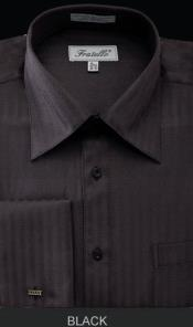 Fratello French Cuff Black Dress Shirt - Herringbone Tweed Stripe Big and Tall Sizes