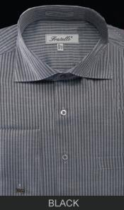 Spread Collar French Cuff  - Classic Stripe Black Mens Dress Shirt