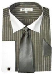Striped cotton fabric white Collar ~ French Cuff with Tie Mens Stylish Two Toned Contrast Dress Shirt