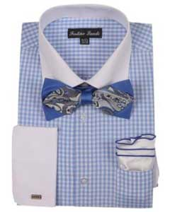 White Collared Contrast Blue Mens French Cuff Checks Shirt With High Fashion