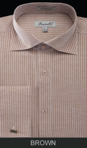 Spread Collar Mens French Cuff Dress Shirt - Classic Stripe Brown