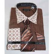 Bird Pattern Brown French Cuff With Contrasting Collar Dress Shirt