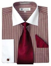 ~ Wine ~ Maroon Stylish Mens White Collar with Tie ~ Two Toned Contrast French Cuff Striped