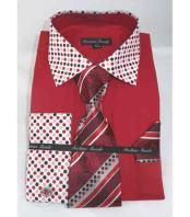 Cuff Solid Body With Poka-a-dot Collar Red Fire Mens Dress Shirt
