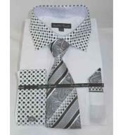 French Cuff Solid Body With Poka-a-dot Collar Mens Dress Shirt