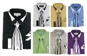 French Cuff Set w/ tie and Handkerchief Mens Dress Shirt
