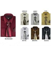 Cuff + Tie + Handkerchief Mens Dress Shirt With Tie