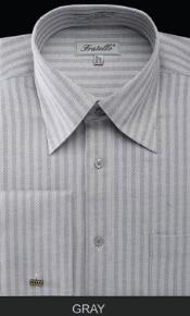 Fratello French Cuff Gray Dress Shirt - Herringbone Tweed Stripe Big and Tall Sizes
