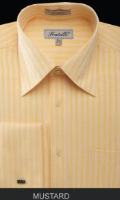 Fratello French Cuff Mustard Dress Shirt - Herringbone Tweed Stripe Big and Tall Sizes