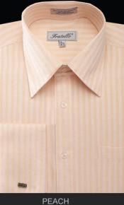 Mens Fratello French Cuff Peach Dress Shirt - Herringbone Tweed Stripe