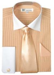 Stylish Classic French Cuff Striped Dress Shirt with Tie and cuff Peach White Collar Two Toned Contrast