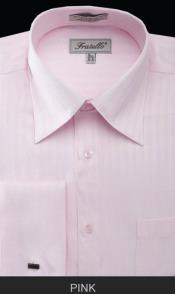Fratello French Cuff Pink Dress Shirt - Herringbone Tweed Stripe Big and Tall Sizes