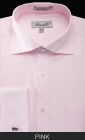 Spread Collar French Cuff  - Classic Stripe Pink Mens Dress Shirt