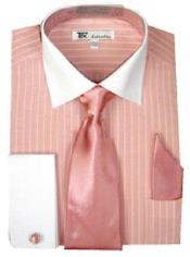Cuff Striped Stylish Classic Mens Two Toned Contrast White Collar with Tie Pink Dress Shirt